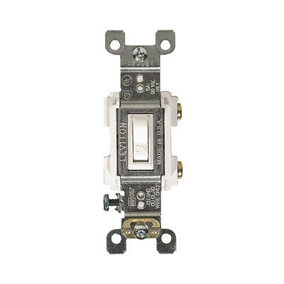 Leviton RS115-WCP Framed Grounded Toggle Switch, 120 V, 15 A, 1 P, White