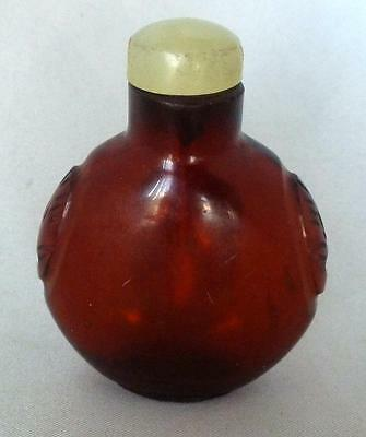 Snuff Bottle, Amber Glass with Jade Lid, antique, with spoon, Chinese, Asian