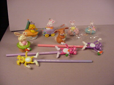 Vintage Easter Bunny toys ornaments magnets & pencil toppers 9 collectible items