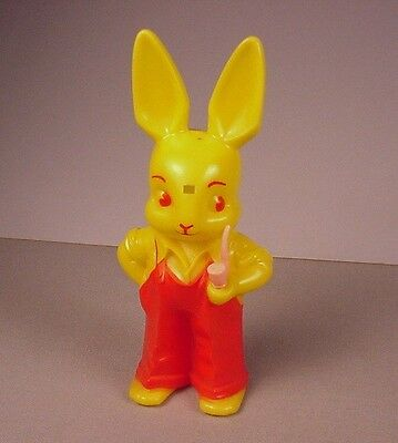 Vintage 1950s Easter bunny hard plastic toy Pipe smoking Rabbit Knickerbocker