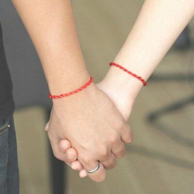 2Pcs Hand Braided Chinese Red Simple Style Lucky Friendship String Rope Bracelet
