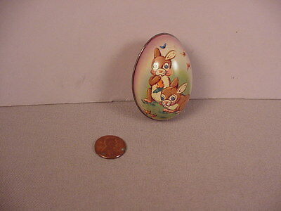 Vintage Easter bunny tin egg metal candy container England