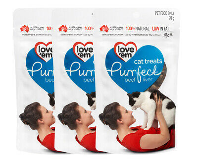 3 x Love'em Purrfect Beef Liver Cat Treats 90g