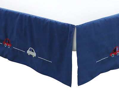 Little Haven Zoom Along Cot Valance - Navy