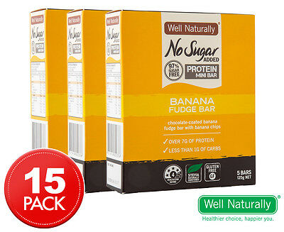 3 x Well Naturally No Sugar Added Protein Mini Banana Fudge Bar 5pk 25g