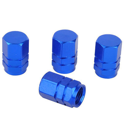 4PCS Blue Aluminum Tire Wheel Rims Stem Air Valve Caps Tyre Cover Car Truck Bike