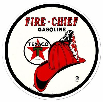 Texaco Fire Chief Tin Sign 12 x 12in
