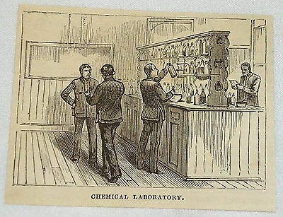 small 1881 magazine engraving~CHEMICAL LABORATORY at Annapolis Naval Academy, MD