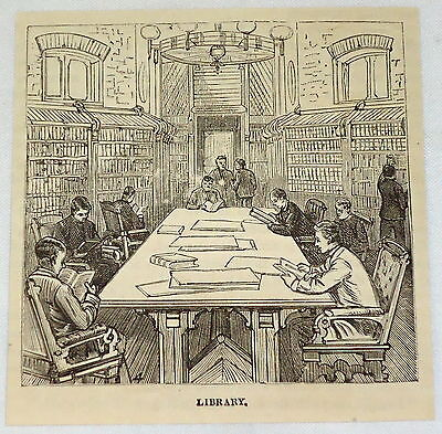 small 1881 magazine engraving ~ CADETS IN LIBRARY at Annapolis Naval Academy, MD