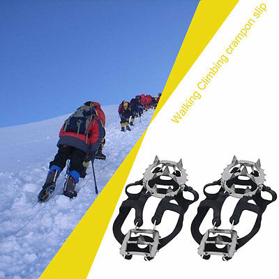 High Strength 18 Teeth Crampons Winter Snow Skiing Non Slipping Shoe Cover #U