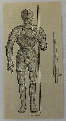 1886 magazine engraving ~ CHEVALIER BAYARD'S ARMOR, France
