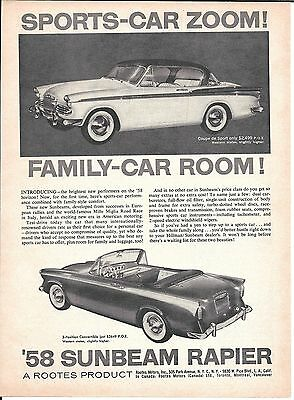1958 Sunbeam Rapier Coupe de Sport & 3 Position Convertible Cars Ad