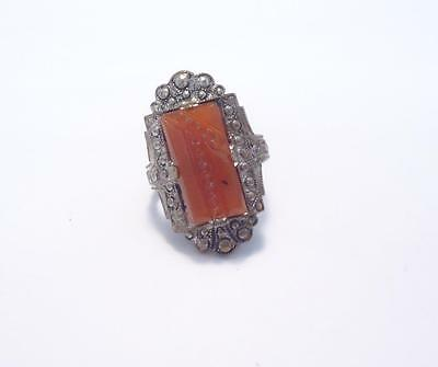 White Gold Plated Carved Stone Ring ~ Sz 5.75 ~ 10-B437