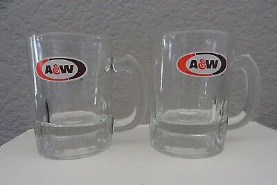 Two Vintage Mini Glass A & W Root Beer Logo Mugs