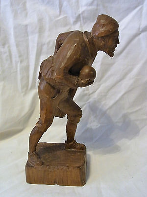 Vintage German Carved Wood Man Play Bowling  #CI