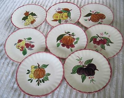 "8 Blue Ridge Southern Potteries County Fair 8.25"" Salad Plates Red Borders"
