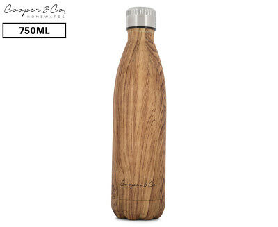 Cooper & Co. Insulated Water Bottle 750mL - Dark Wood/Matte Finish
