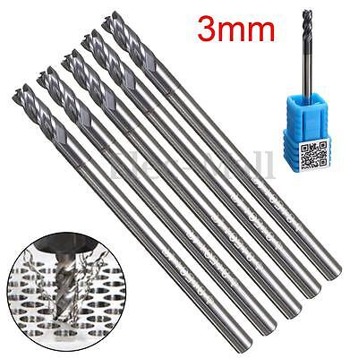 5Pcs 4 Flute Solid Carbide End Mill 3MM Shank Tungsten Coated CNC Milling Tool