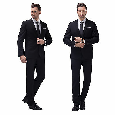 Black Slim Fit Men Groom Suit Tuxedos Formal Groomsmen Wedding Suits Jacket Set