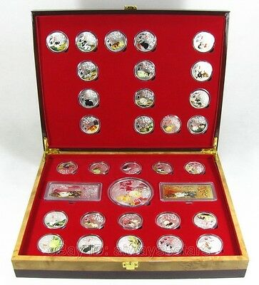 33 Lovely Chinese Lunar Zodiac Rabbit Colored Silver Coins & Bars With Box