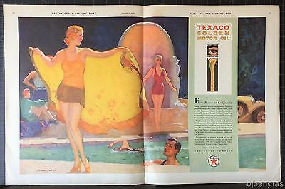 1929 Texaco Golden Motor Oil Swimming Pool McClelland Barclay Art Print Ad