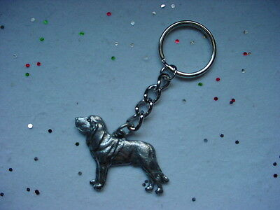 BLOODHOUND dog PEWTER Silver KEYCHAIN /CHRISTMAS ORNAMENT Key Chain Ring NEW