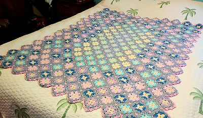 Hand Crochet Granny Square Baby Blanket ~ Gray & Pink Diamond ~Complex Geometric