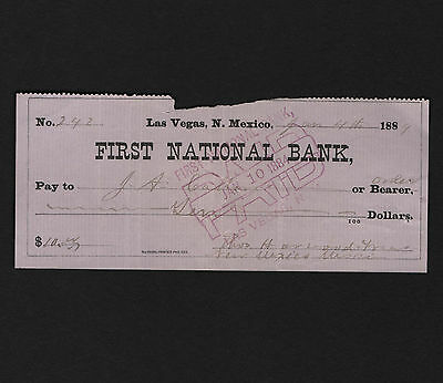 OPC 1884 Las Vegas New Mexico First National Bank Draft $10. Check