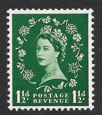 1959 2nd Graphite 1½d Green / Upright Watermark SG 589 (MNH)