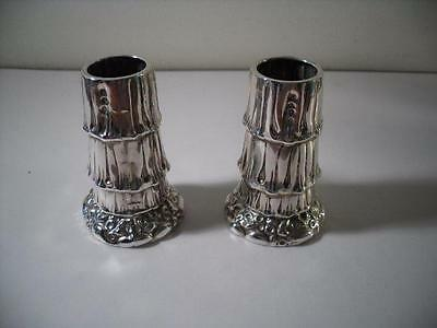A Pair of Antique Silver Spill Vases #3 : Birmingham 1891