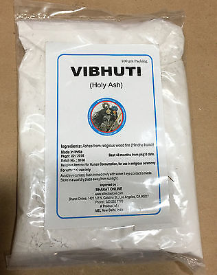 Vibhuti Premium Quality from Hindu Temple South India 100 g white perfumed