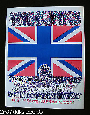 THE KINKS-RARE FAMILY DOG ON THE GREAT HIGHWAY CONCERT POSTER-Ex. Condition