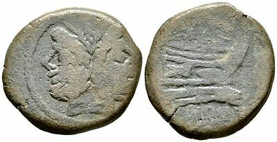 Ancient Rome REPUBLIC 2 Cent BC Large AS JANUS PROW GALLEY