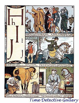 Children's Alphabet Page by Walter Crane - H-I-J - Poster in 3 Sizes