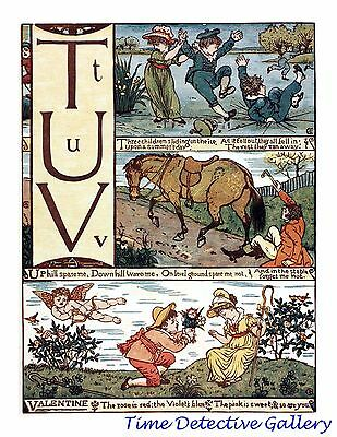 Children's Alphabet Page by Walter Crane - T-U-V - Poster in 3 Sizes