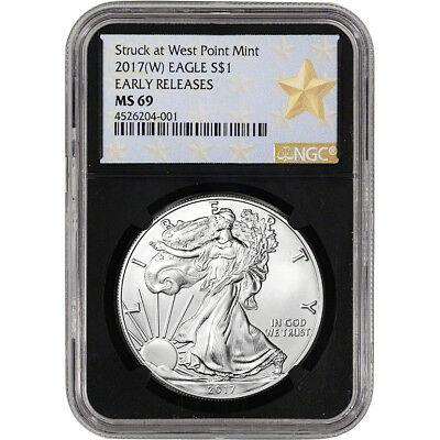 2017-(W) American Silver Eagle - NGC MS69 - Early Releases - Star Label Black