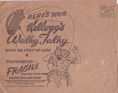 1945 Kellogg's Cereal Premium WWII Walky Talky In Original Envelope Complete