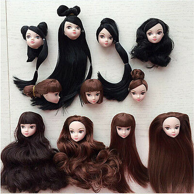 Kids Toy Doll Head with Hair DIY Accessories For 1/6 BJD Barbie Doll TO