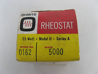 "NOS OHMITE 1 1/2"" Model H VARIABLE RHEOSTAT 5k ohm 25W 0162 VITREOUS CERAMIC"