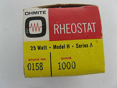 "NOS OHMITE 1 1/2"" Model H VARIABLE RHEOSTAT 1000 ohm 25W 0158 VITREOUS CERAMIC"