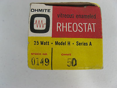 "NOS OHMITE 1 1/2"" Model H VARIABLE RHEOSTAT 50 ohm 25W 0159 VITREOUS CERAMIC"
