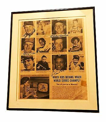 Mickey Mantle Berra Willie Mays Musial Ashburn Feller Signed Newspaper Framed