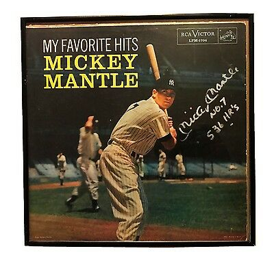 Mickey Mantle Ny Yankees Hand Signed Inscribed Record Cover Photo Framed W/coa