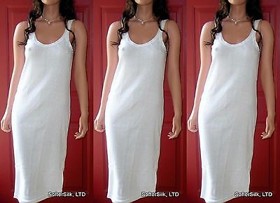 3-Pack Size XL 1X 100% Cotton Full-Slip Stretchy Ribbed-Knit White NEW Chemise