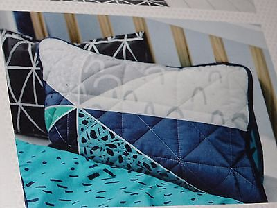 ADAIRS Wildling geometric COT (Jnr bed) QUILTED Quilt COVER SET BNiP navy teal