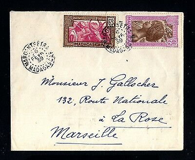 15052-MADAGASCAR-OLD COVER MAROANTSETRA to FRANCE.1939 WWII.FRENCH colonies