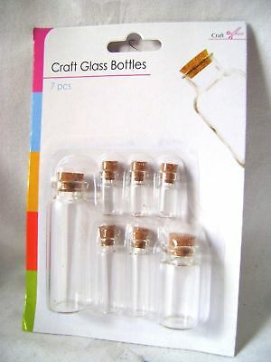 New 7 Craft Glass Bottles Jars With Cork Stoppers 4 Mini Sizes On Card Sil 0574