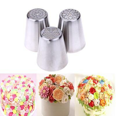 3Pcs Russian Flower Icing Piping Nozzles Cake Decoration Tips Baking Tools kit