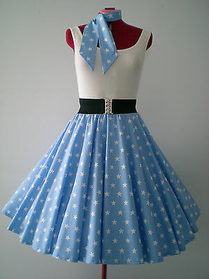 "ROCK N ROLL/ROCKABILLY ""Stars"" SKIRT & SCARF XS-S Powder Blue/White Stars."
