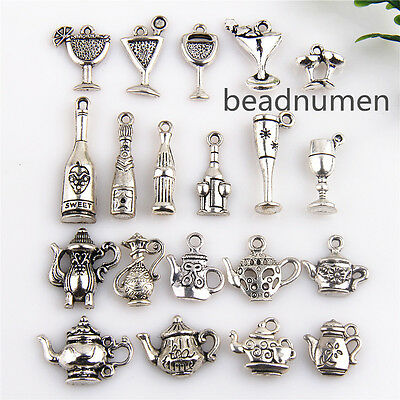 20Pcs Mix Teapot cup Bottle Antique Silver Charms Pot Flask For DIY Making